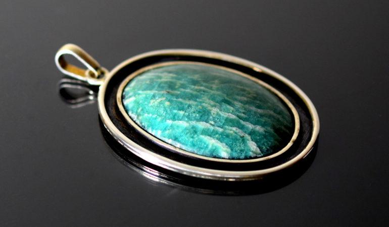 Amazonit - wisior w srebrze.