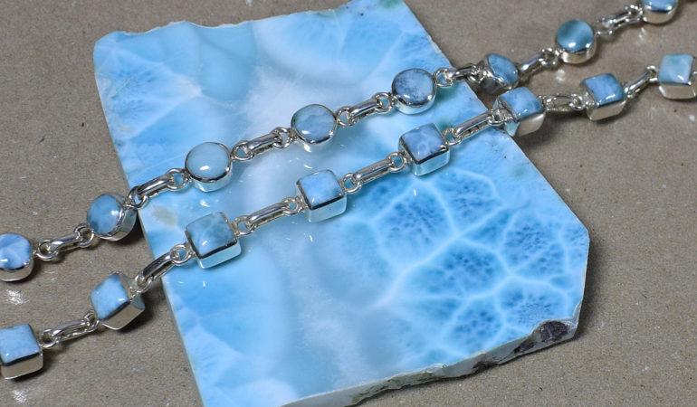 Larimar - bransoletki w srebrze.