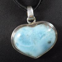 Wisior serce srebrne z larimaru